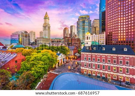 Boston, Massachusetts, USA historic skyline at dusk. - Shutterstock ID 687616957