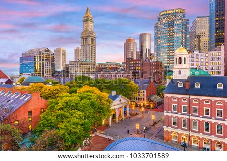 Boston, Massachusetts, USA skyline with Faneuil Hall and Quincy Market at dusk. #1033701589