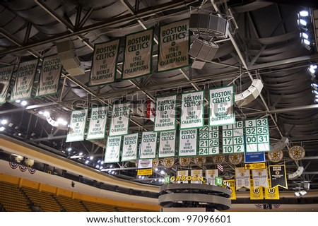 BOSTON -  MAY 23: Boston Celtics championship banners hanging up in the TD Garden on May 23, 2011 in Boston.  The TD Garden is home to the Boston Celtics and Boston Bruins.