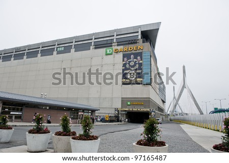BOSTON - MAY 23: Exterior of the TD Garden with the Zakim Bunker Hill Bridge on May 23, 2011 in Boston.  TD Garden is home to the Boston Celtics and Boston Bruins.