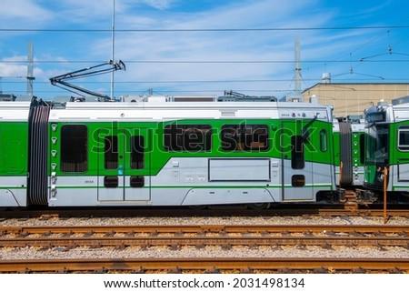 Boston Metro MBTA Green Line Type 9 modern fleet by CAF USA at Riverside terminal station, Newton, Massachusetts MA, USA. Photo stock ©