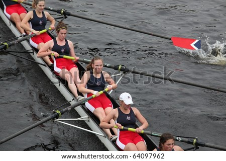 BOSTON - OCTOBER 24: American University  Women's Crew competes in the Head of the Charles Regatta on October 24, 2010 in Boston, Massachusetts.