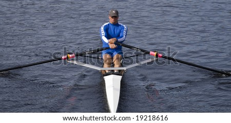 BOSTON - OCTOBER 19: In the Head of Charles Regatta, Sean Schulich of the Pelham Community Rowing Association, on October 19th, 2008 places 17th in the Singles Master's Race.