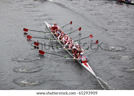 BOSTON - OCTOBER 24:  Men 18 and Under men's Crew competes in the Head of the Charles Regatta on October 24, 2010 in Boston, Massachusetts.