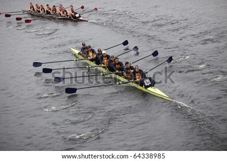 BOSTON - OCTOBER 24: men's Crew competes in the Head of the Charles Regatta on October 24, 2010 in Boston, Massachusetts.