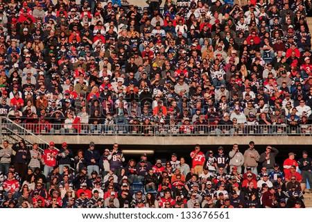 BOSTON - OCTOBER 16: New England Patriots NFL Football fans at Gillette Stadium, New England Patriots vs. the Dallas Cowboys on October 16, 2011 in Foxborough, Boston, MA