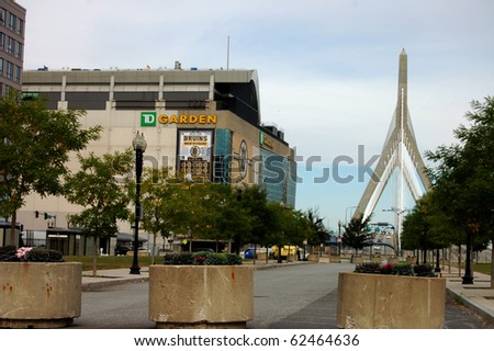 BOSTON - OCTOBER 3: The Boston Garden sits quietly awaiting the start of the hockey season.  The Leonard P. Zakim Bunker Hill Memorial Bridge is to the right October 3, 2010 in Boston, MA.