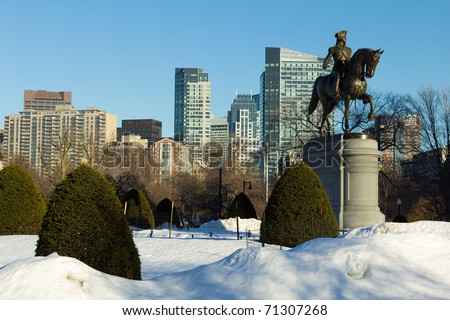 Boston Public Garden in the Winter - Boston, Massachusetts - USA.