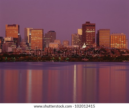 Boston reflecting in the Charles River - stock photo