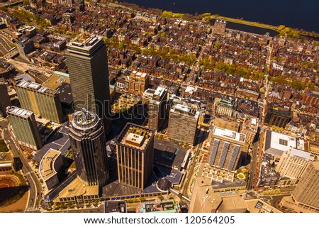 Boston's Back Bay area and downtown from the air