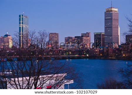 Boston's Back Bay skyline and Charles River at dusk