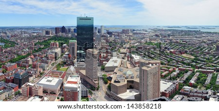 Boston skyline aerial view panorama with skyscrapers