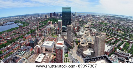 Boston skyline aerial view panorama with skyscrapers and Charles River.
