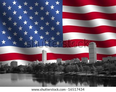 Boston skyline against rippled American Flag illustration