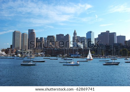 Boston Skyline and Custom House from Boston Inner Harbor