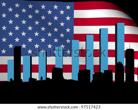 Boston skyline and graph over American flag illustration