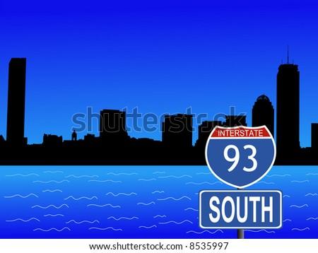 Boston skyline and interstate sign illustration JPG