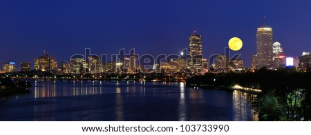 Boston skyline and supermoon