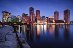 Boston skyline at dusk, Boston, Massachusetts, USA