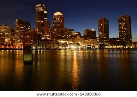 Boston skyline at night, Boston, MA, USA