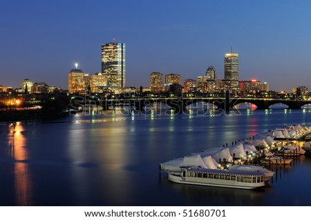 Boston skyline at night - Subway crossing Longfellow Bridge