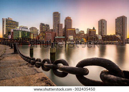 Boston skyline at sunset as viewed from Fan Pier Park. #302435450