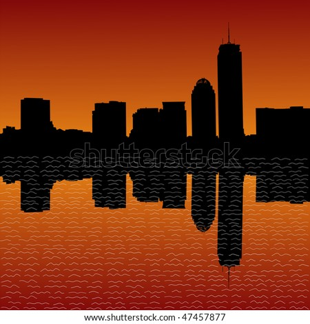 Boston skyline at sunset illustration JPEG
