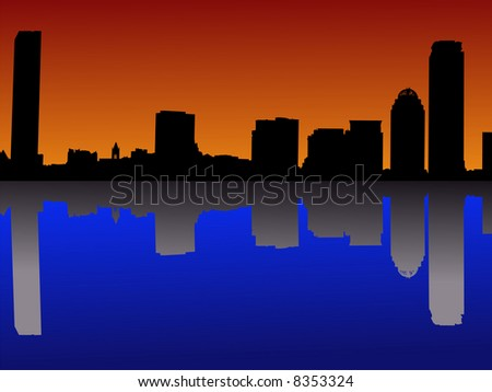 Boston skyline at sunset with colourful sky illustration JPG