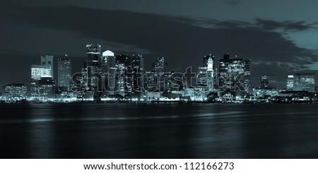 Boston skyline by night from East Boston, Massachusetts - USA #112166273