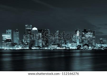 Boston skyline by night from East Boston, Massachusetts - USA #112166276