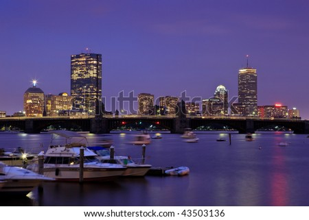 Boston skyline from Cambridge at twilight.