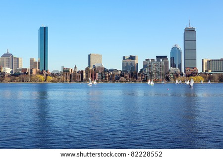 Boston skyline from Cambridge over the Charles River, Massachusetts, USA