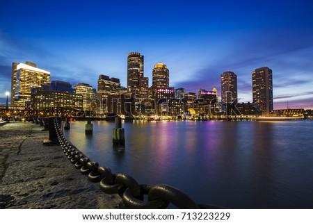 Boston Skyline from Downtown Harborwalk at dusk