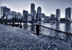 Boston Skyline in Massachusetts, USA. Black and White Photo.