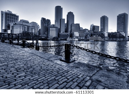Boston Skyline in Massachusetts, USA. Black and White Photo.