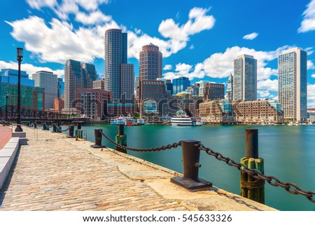 Boston skyline in sunny summer day, view from harbor on downtown, Massachusetts, USA