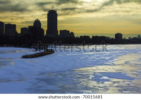 Boston Skyline in the winter. Massachusetts - USA.