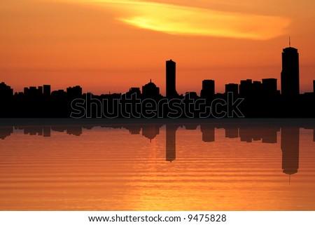 Boston skyline reflected at sunset illustration