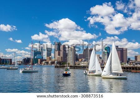 Boston skyline seen from Piers Park, Massachusetts, USA
