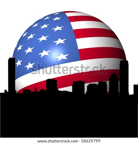 Boston skyline with American flag sphere illustration