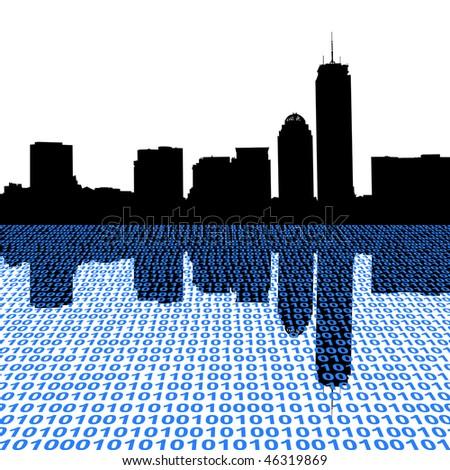 Boston skyline with binary perspective illustration JPEG