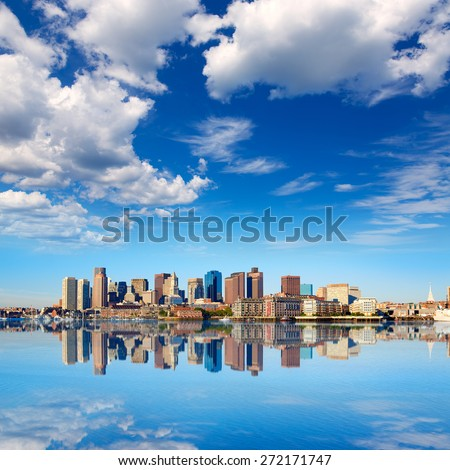 Boston skyline with river in sunlight at Massachusetts USA #272171747