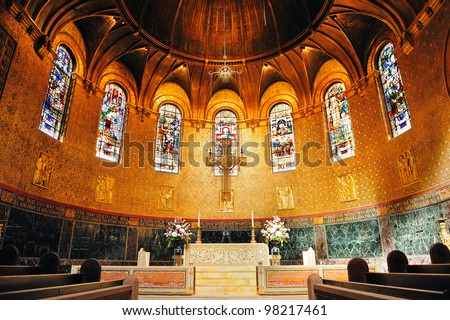 Boston Trinity Church interior view with beautiful pattern and decoration.