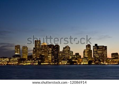 Boston Twilight Skyline Close