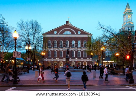 BOSTON, USA - APRIL 20: A market place and a meeting hall since 1742, the Faneuil Hall in Boston was also the site of several speeches by Samuel Adams and James Otis. Seen at dusk on April 20, 2012.