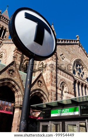 "BOSTON, USA - APRIL 4: View of Copley Square subway station in Massachusetts, USA on April 4, 2012. The ""T"" is the fourth busiest subway system in the USA with over 598 thousand trips a day."