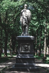 BOSTON, USA - JULY 15, 2019 : Hamilton statue was erected in 1865 and was the first to appear on Commonwealth Avenue. The statue was funded by Thomas Lee and designed by Dr. William Rimmer.