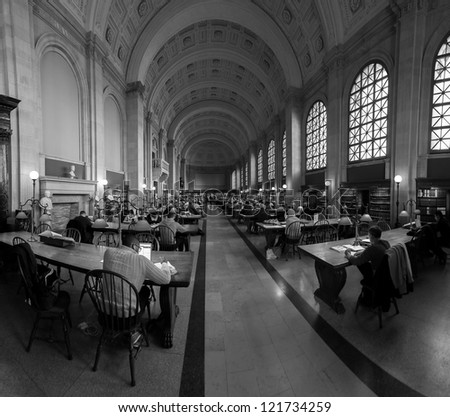 BOSTON, USA - NOV. 22: Landmark of MA in the USA, The Boston Public Library is not only the busiest but also the largest library in the USA with over 6 million books as seen on NOV. 22, 2012 in Boston