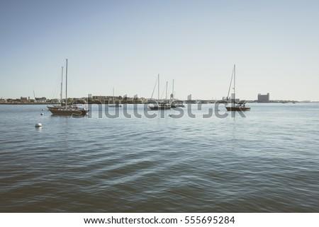 Boston, USA - 11 October, 2016: Small yachts sailing in bay. Boston Harbor.