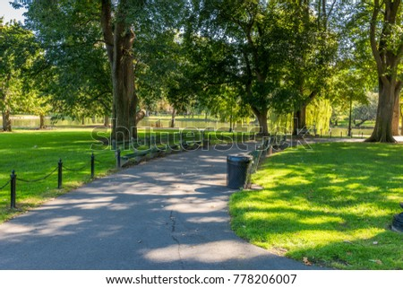 Boston USA Public Garden, Common Frog Pond and city skyline. - Shutterstock ID 778206007